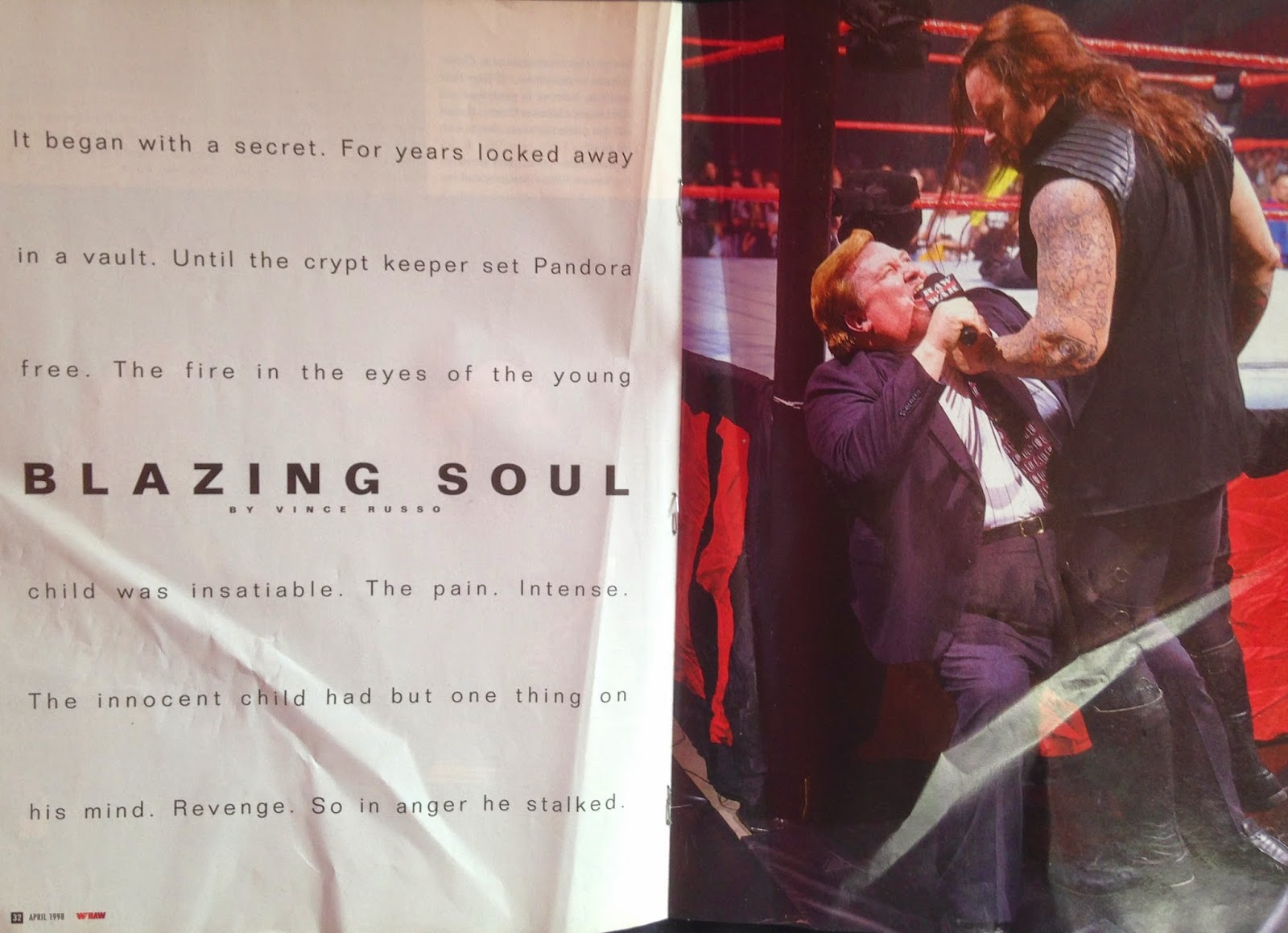 WWE - WWF Raw Magazine - April 1998 -  Undertaker vs. Kane picture essay