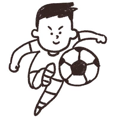 シュートを打っているサッカー選手のイラスト モノクロ線画
