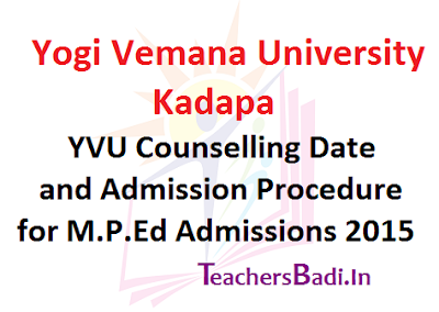 YVU MPEd Counselling Date,Admission Procedure