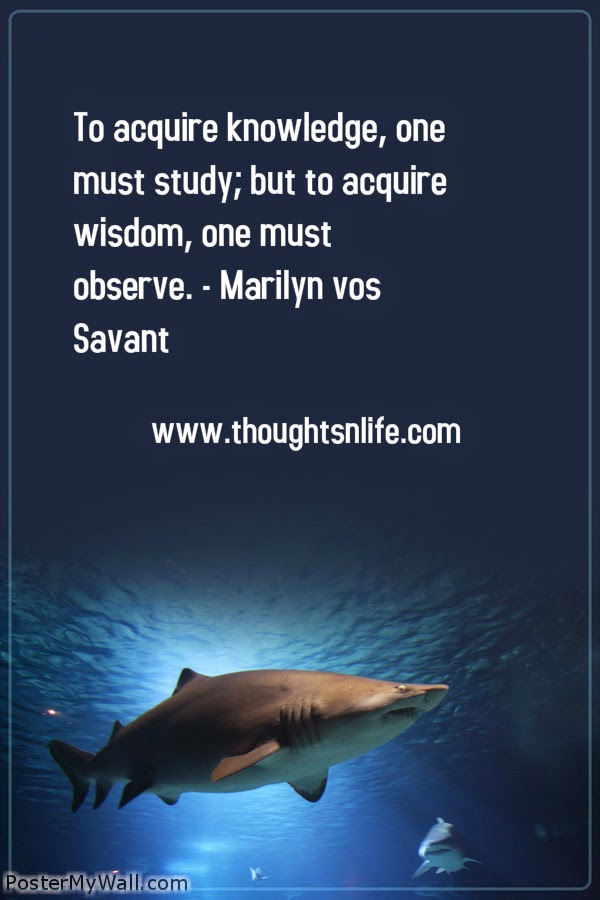 Thoughtsnlife.com: To acquire knowledge, one must study; but to acquire wisdom, one must observe. - Marilyn vos Savant