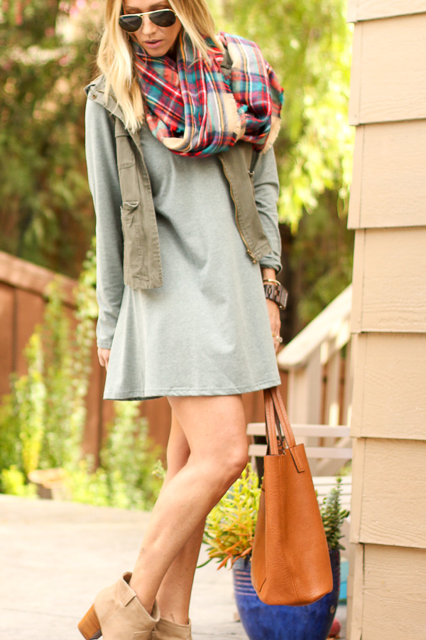 long sleeve dress booties vest plaid scarf aviators fall
