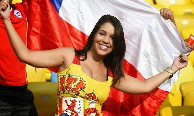 Beautiful Spain female fan at world cup