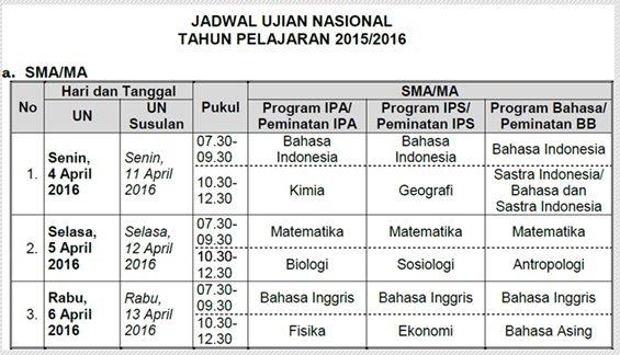 Jadwal Ujian Nasional SMA/MA Tahun Pelajaran 2015/2016