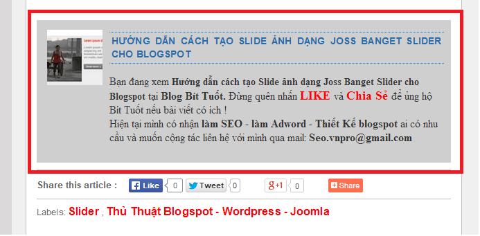 Hướng dẫn tạo tùy biến khung author cuối bài viết Blogspot