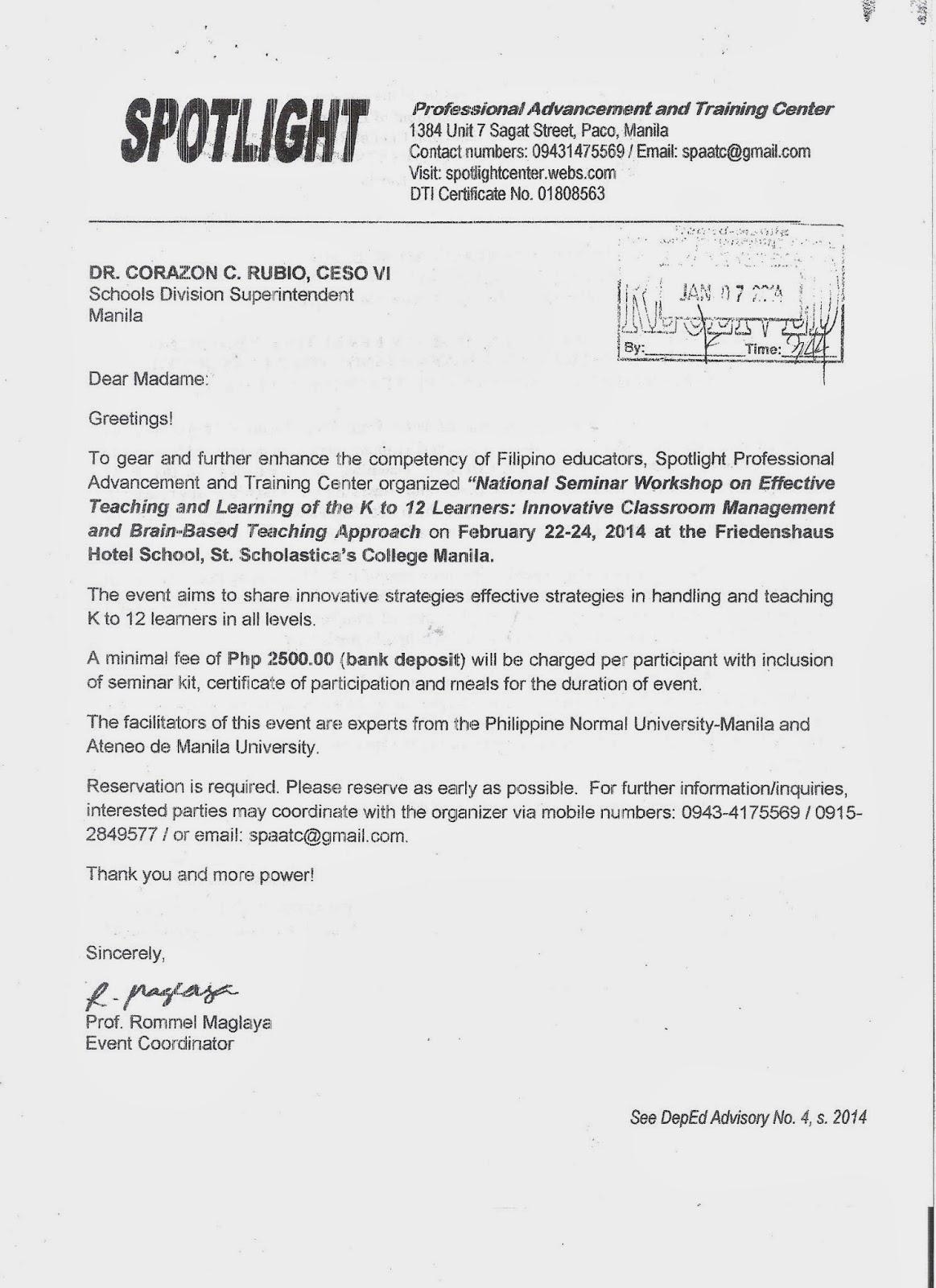 Innovative Classroom Management ~ Department of education manila division advisory no s