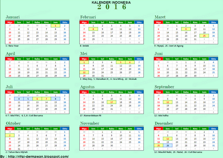 Kalender 2016 Indonesia Related Keywords & Suggestions - Kalender 2016 ...