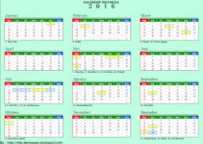 Kalender Indonesia Tahun 2016 » Terbaru 2015