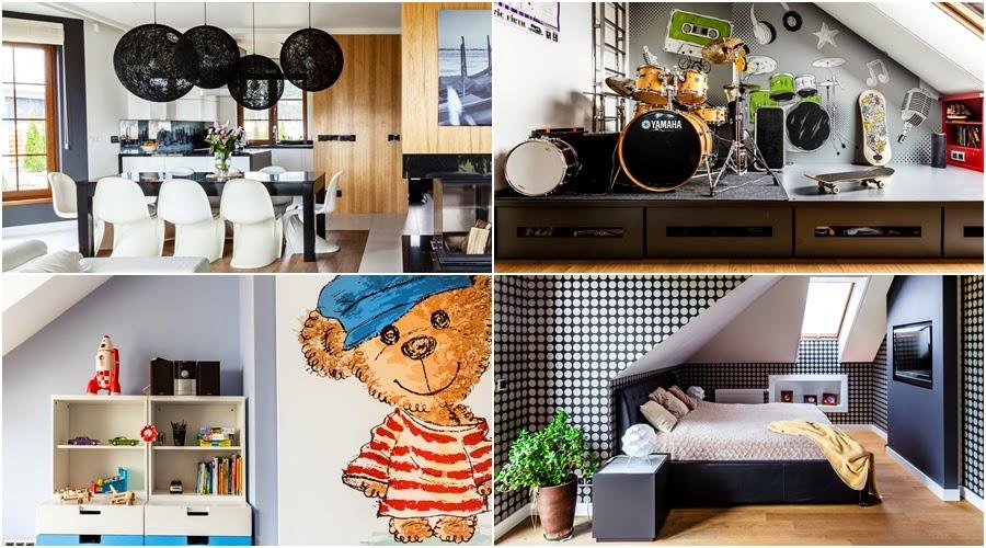 wnętrza, wystrój wnętrz, dom, mieszkanie, aranżacja, home decor, dekoracje, styl nowoczesny, biel i czerń, lampy