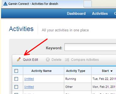how to change activity type in garmin connect