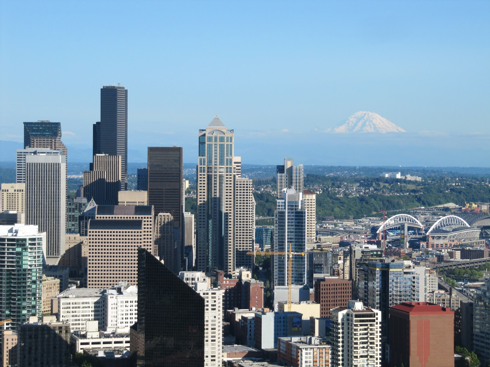 monte Rainier desde la Space Needle, downtown Seattle desde space Needle, skyline from space needle