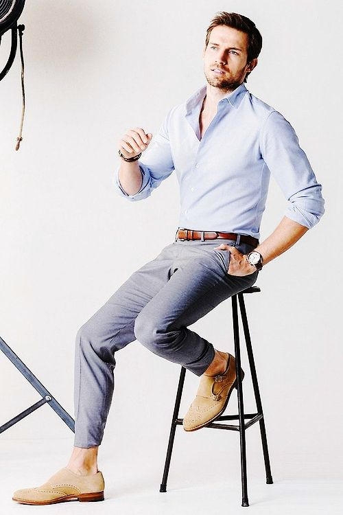LIGHT BLUE SHIRT AND GREY PANTS FORMAL COMBINATION FOR MEN ...
