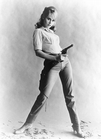 Jane Fonda holding phallic pistol in Cat Ballou