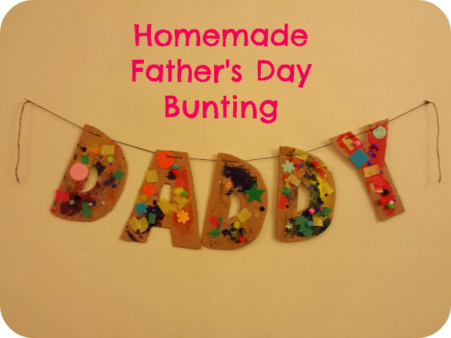daddy bunting, father's day, father's day craft, crafting with a toddler, toddler crafts, daddy bunting, toddler made bunting.
