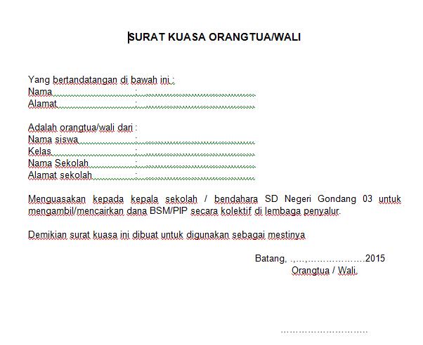 Contoh Surat Kuasa Orang Tua/Wali Murid Untuk Pencairan Dana BSM/PIP