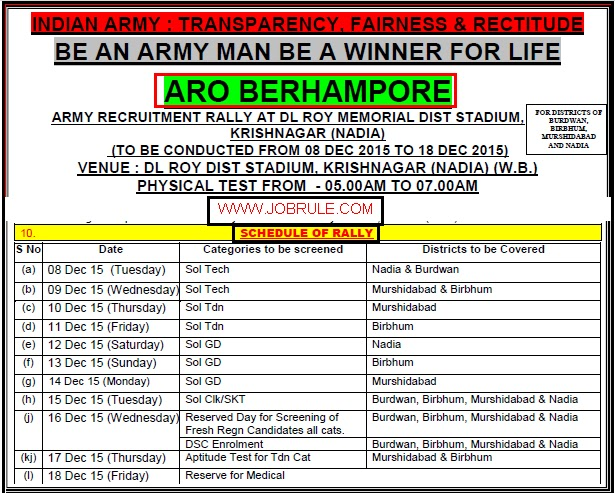 ARO Berhampore Army Recruitment Rally at Krishnagar DL Roy Memorial District Stadium 8-18 December 2015