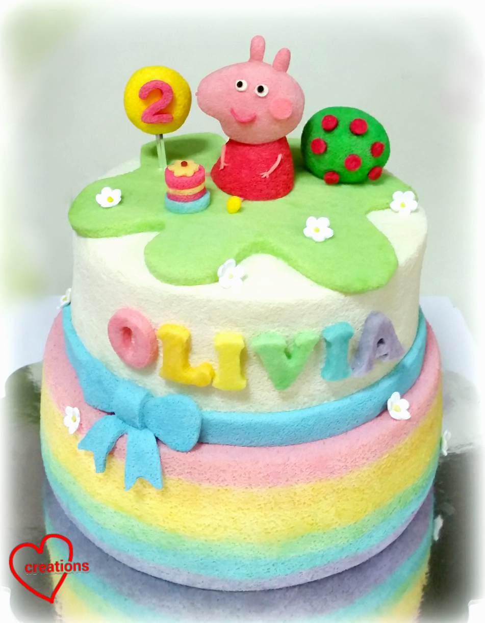 Loving Creations For You Rainbow Peppa Pig Birthday Tiered