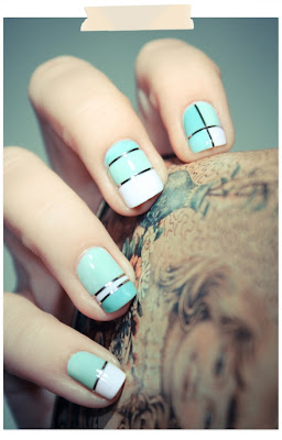 Mint and White cool nail art manicure from PSHIIT.com
