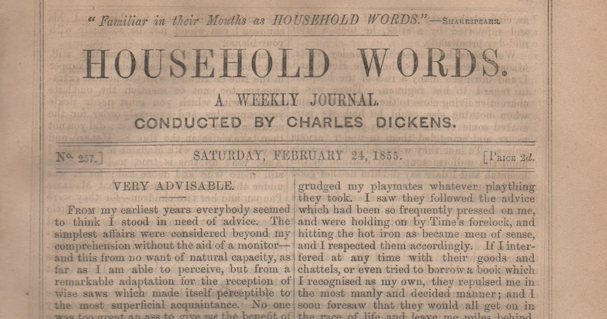 household words by charles dickens essay We will write a custom essay sample on david copperfield by charles dickens edited weekly periodicals including 'household words' and 'all year round'.