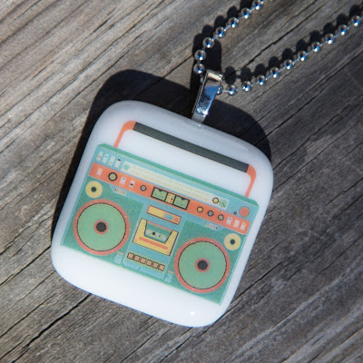 boombox, fused glass, Sassy Glass Studio, Knoxville, TN, blue, sky