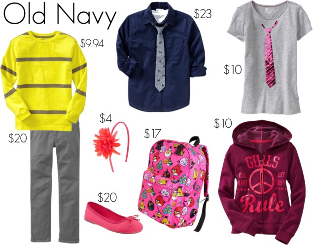 Back to school the best deals on boy 39 s girl 39 s clothing for Old navy school shirts