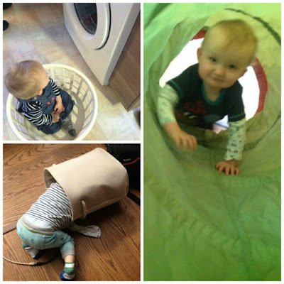 collage of baby in washing basket, bag and tunnel