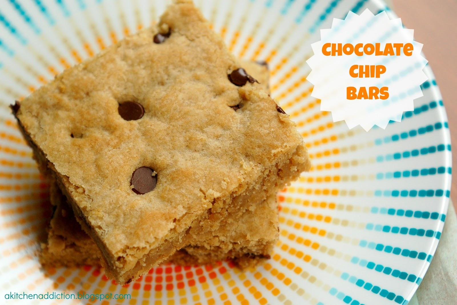 Chocolate Chip Bars - A Kitchen Addiction