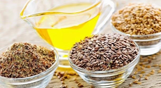 Sementes de linhaça e óleo de semente de linhaça