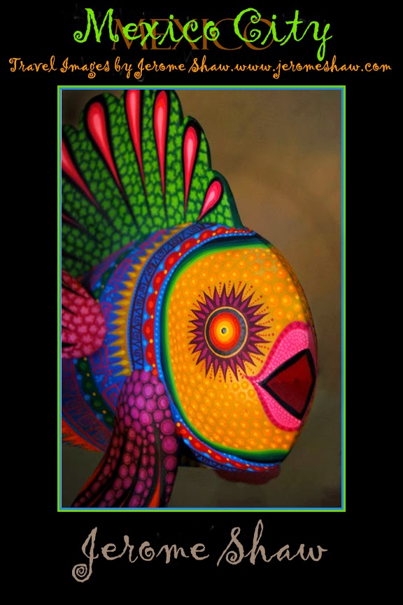 Painted Fish - Mexican folk art carvings from Oaxaca Mexico. copyright Jerome Shaw 2007 / www.JeormeShaw.com