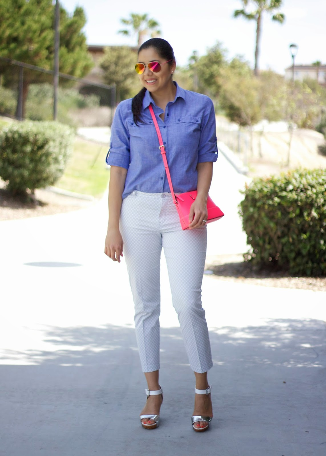 what to wear for the weekend, weekend ootd 2015, pop of hot pink, pink kate spade purse