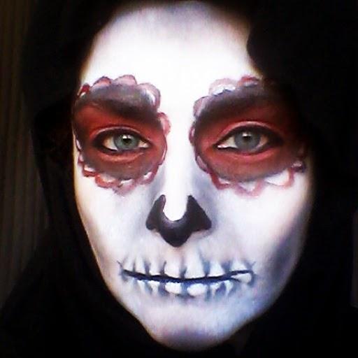 rojo, negro, maquillaje halloween, make up, caracterización, calavera