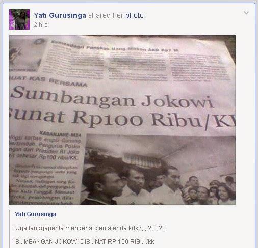 Sumbangan Jokowi Untuk Korban Sinabung Disunat 100Ribu/KK