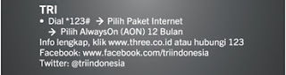 Cara registrasi paket data TRI