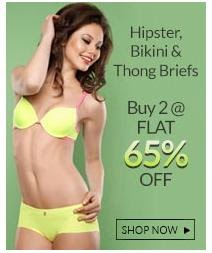 Get 65% Off on Purchase of 2 or more Women's Hipster, Bikni / Thong Brief at Zivame