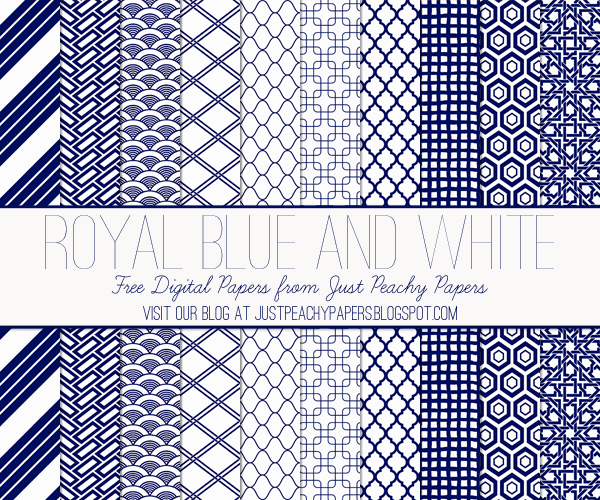 Free Digital Papers: Royal Blue and White