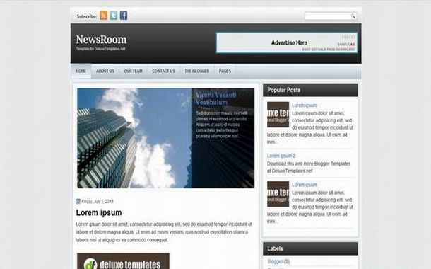 Free Elegant Jquery News Blogger Theme Template