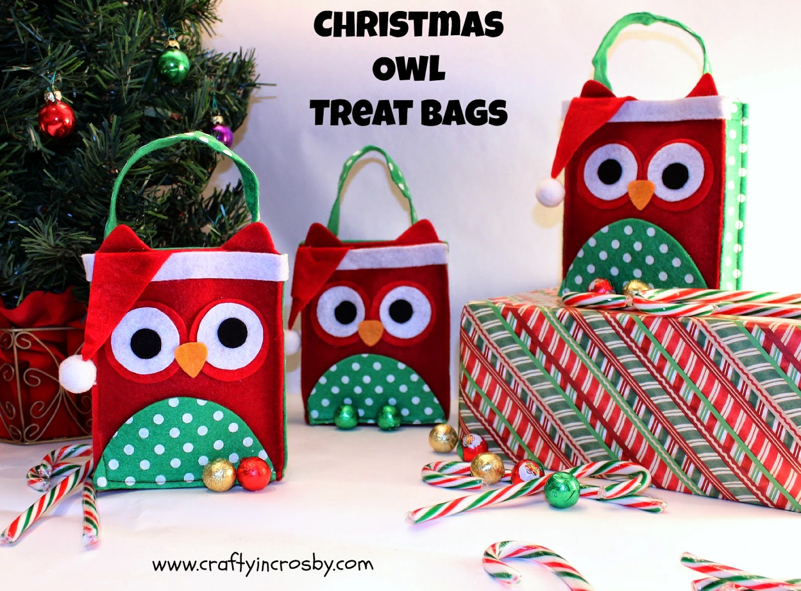 Lillian Vernon, treat holders, Christmas Treat Bags, Christmas Owls