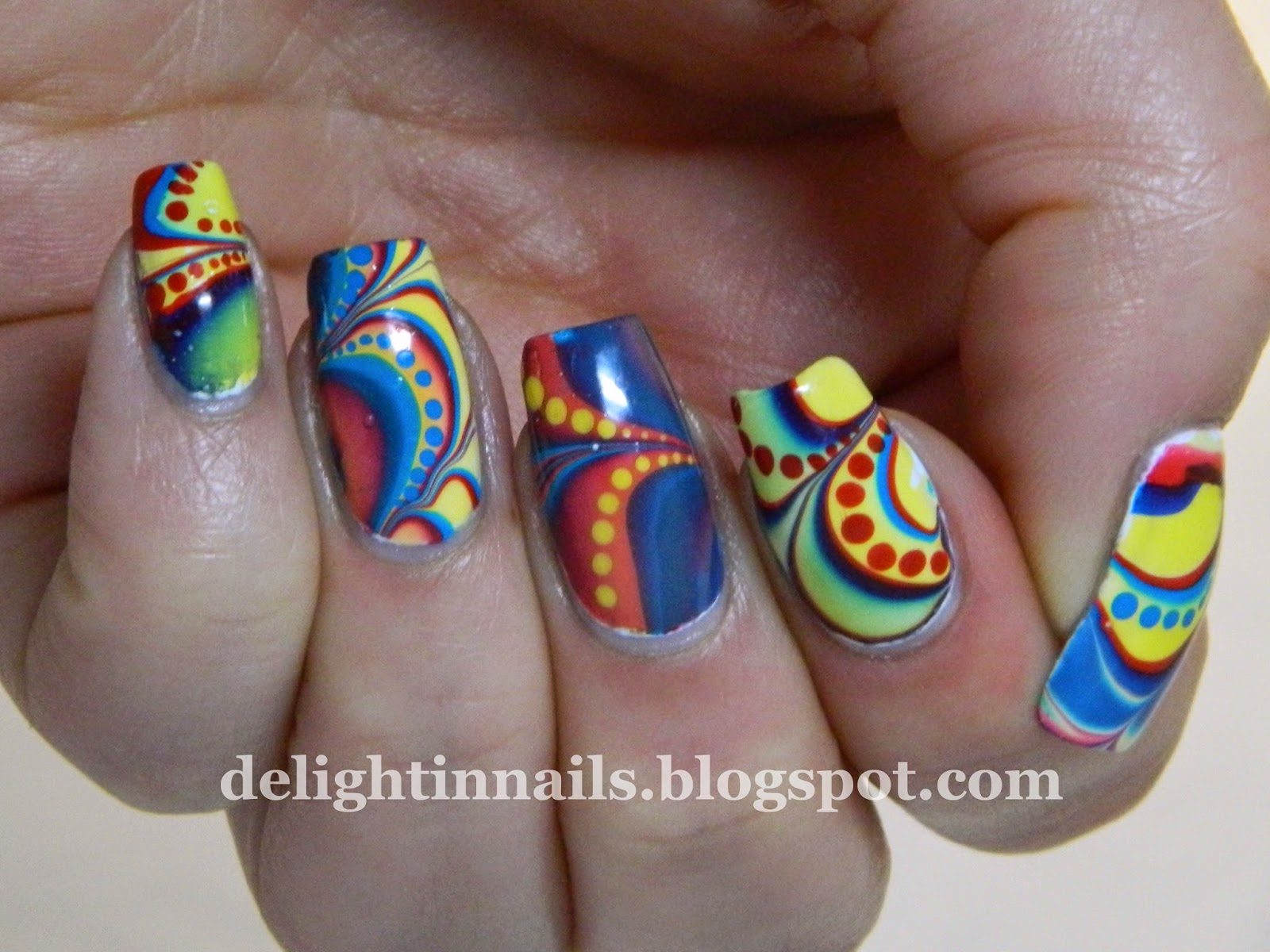 Red Yellow Blue Water Marble