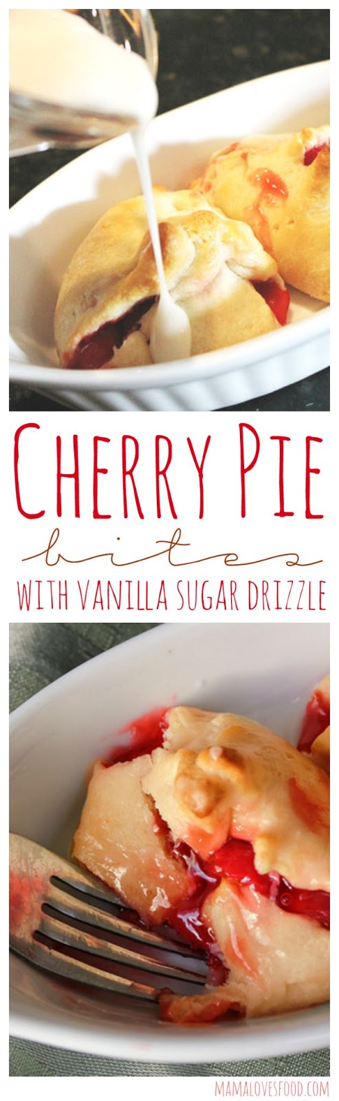 Mama Loves Food!: Cherry Pie Bites with Vanilla Sugar Drizzle.