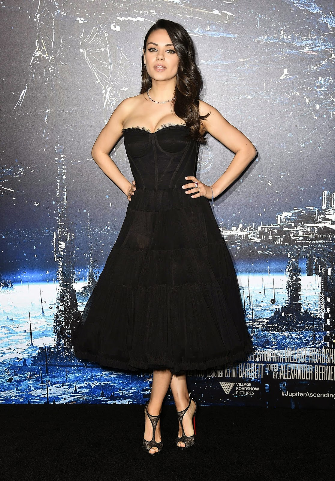 Mila Kunis flaunts a Dolce & Gabbana corset dress at the 'Jupiter Ascending' Hollywood premiere