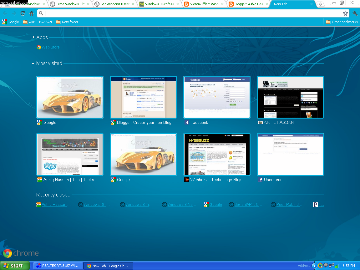 Google themes windows 8 - The Theme Uses The Windows 8 Betta Fish Wallpaper Giving A Bluish Look To The Browser Here Is How The Browser Looks With Windows 8 Theme