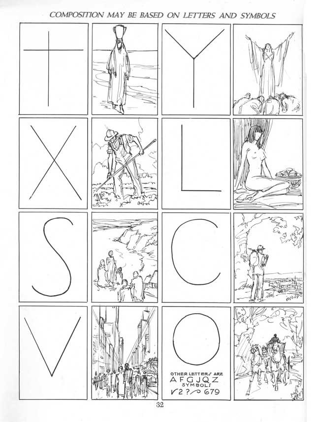 imagen el libro Andrew Loomis, con ejemplos de esquemas compositivos con letras