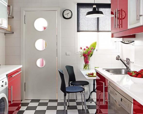 decoracao cozinha branca e vermelha:Cozinha vermelha – fórmica brilhante