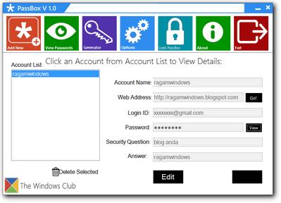 Daftar Password tersimpan