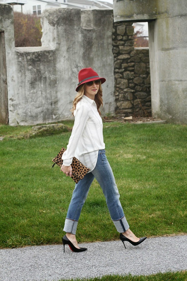 eugenia kim hat, loft tunic, jcrew factory jeans, christian louboutin heels, clare v clutch