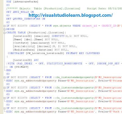 Generate Data Base Script in Sql Server