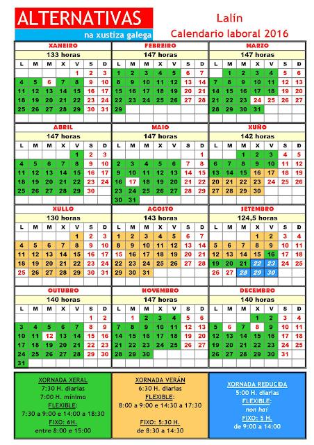 Lalín. Calendario laboral 2016