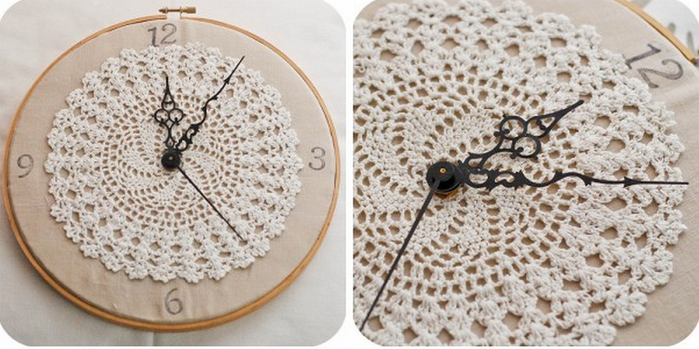 Crochet clock home decorating ideas for Crochet decorations for home