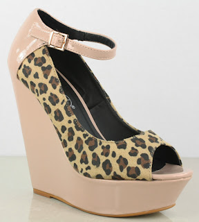 High heel wedges with leopard print