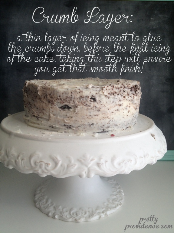 Pull The Cake Out Of The Freezer And Begin To Spread Another Layer Or Icing Over The Frozen Crumb Layer See How Easy This Is Crumbs Are Minding Their Own