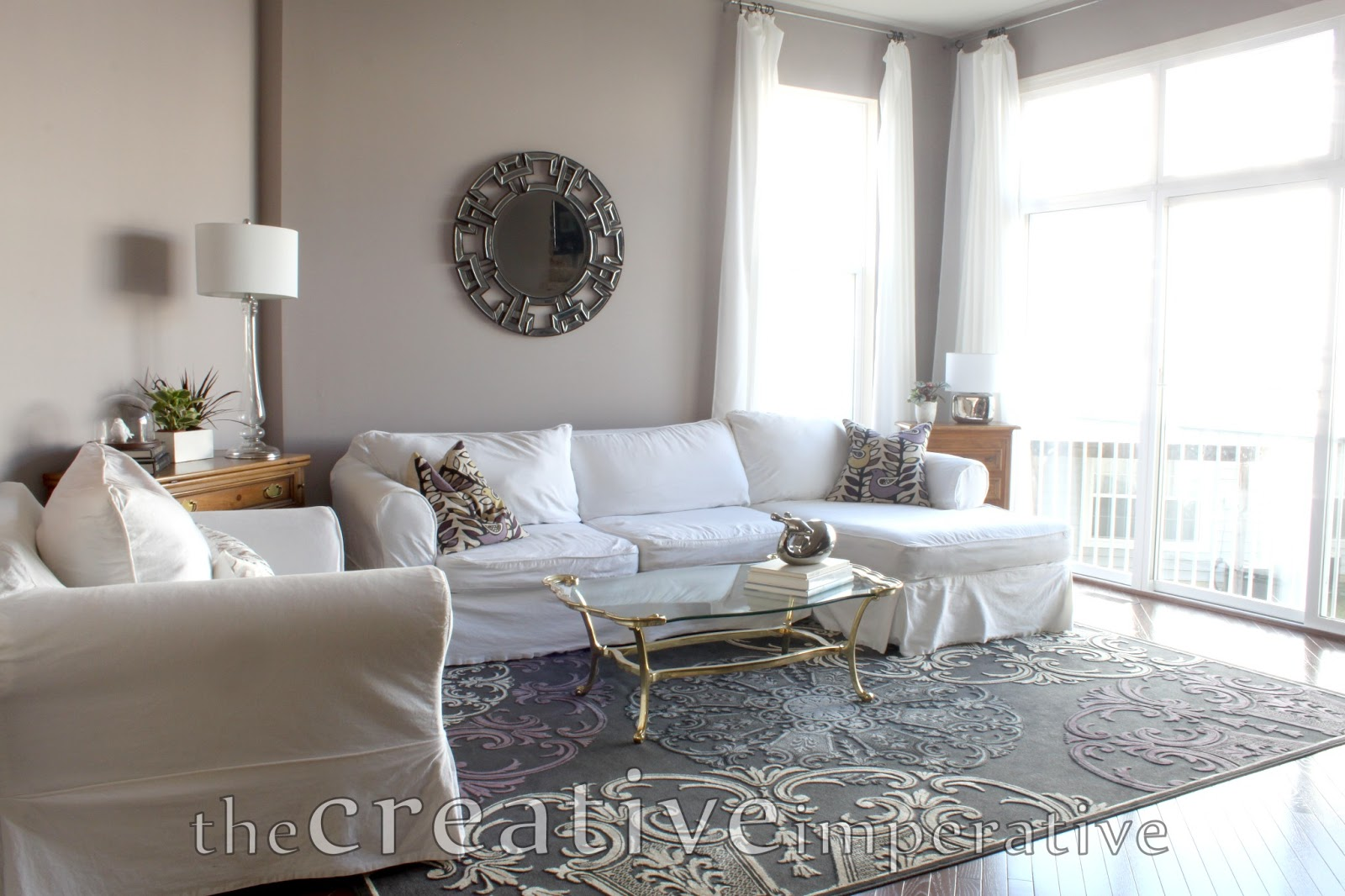 The creative imperative house tour purple and gray Grey and purple living room